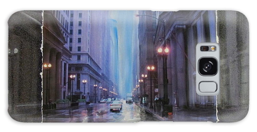 City Galaxy S8 Case featuring the mixed media Chicago Rainy Street Expanded by Anita Burgermeister