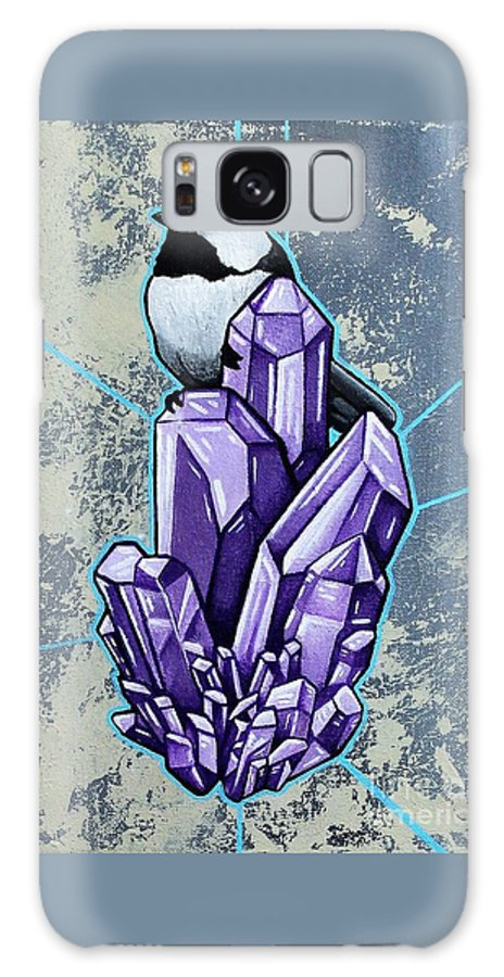 Chickadee Galaxy S8 Case featuring the painting Chickadee And Amethyst by Dan Gee