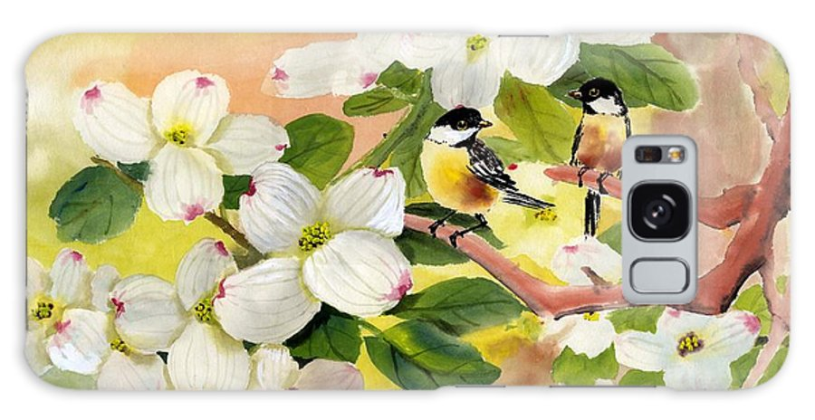Chickadees Galaxy S8 Case featuring the painting Chickadees In The Dogwood Tree by Eileen Fong
