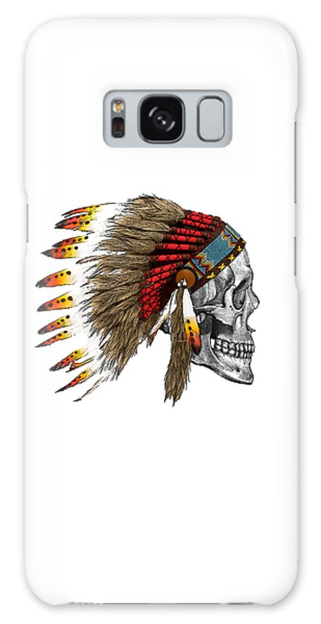 Indian Galaxy S8 Case featuring the digital art Chief Headdress On Human Skull Native American Art by Madame Memento