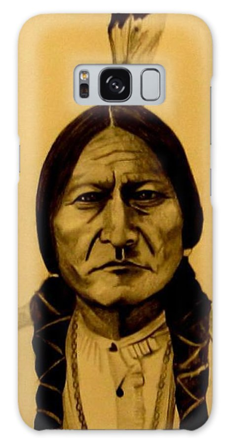 Portrait Galaxy Case featuring the drawing Chief Sitting Bull Tatanka Iyotake by Michelle Dallocchio