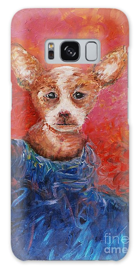 Dog Galaxy Case featuring the painting Chihuahua Blues by Nadine Rippelmeyer