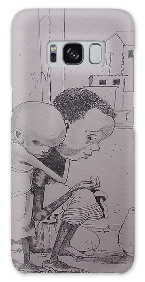 Children Galaxy S8 Case featuring the drawing Children Of The Desert by Douglas Berry