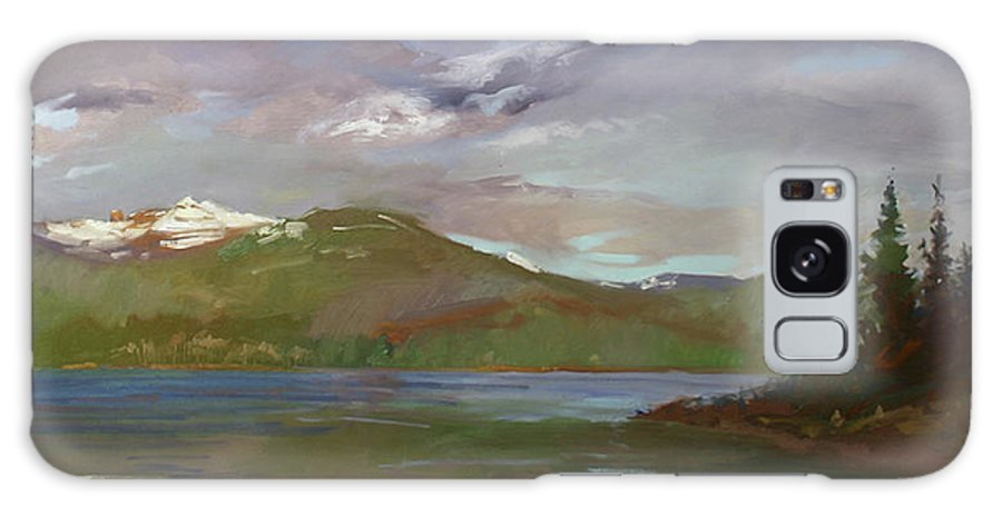Murals Galaxy S8 Case featuring the painting Chimney Rock At Priest Lake Plein Air by Betty Jean Billups