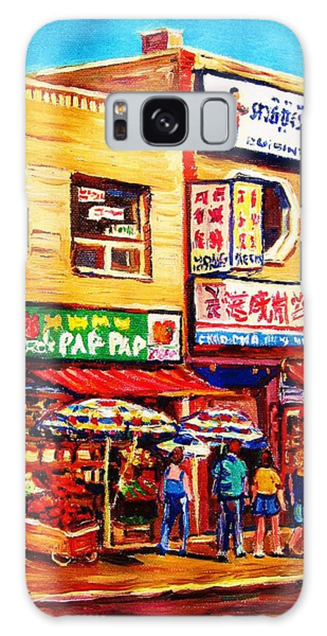 Montreal Galaxy S8 Case featuring the painting Chinatown Markets by Carole Spandau