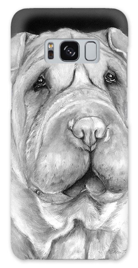 Sharpei Galaxy S8 Case featuring the painting Chinese Sharpei by Portraits By NC