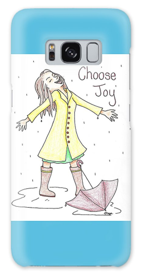 Joy Galaxy S8 Case featuring the drawing Choose Joy Woman by Emily Page