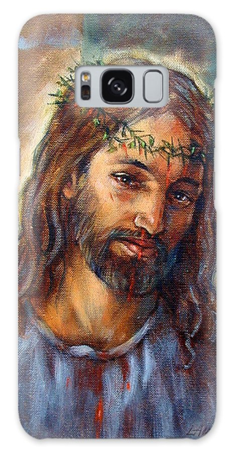 Christ Galaxy S8 Case featuring the painting Christ With Thorns by John Lautermilch