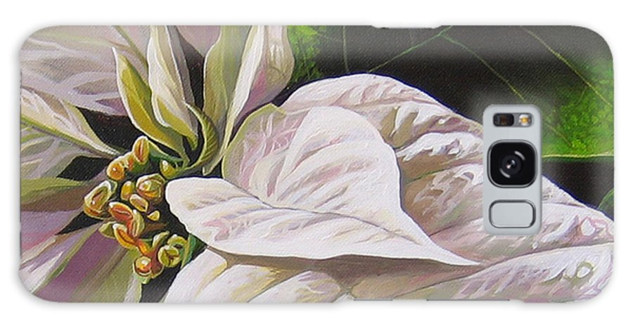 White Poinsettia Galaxy Case featuring the painting Christmas Eve by Hunter Jay