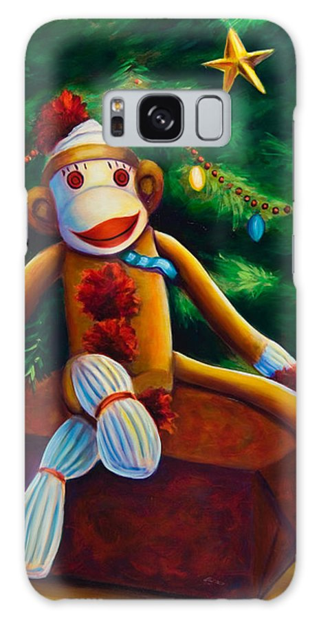Sock Monkey Galaxy S8 Case featuring the painting Christmas Made Of Sockies by Shannon Grissom