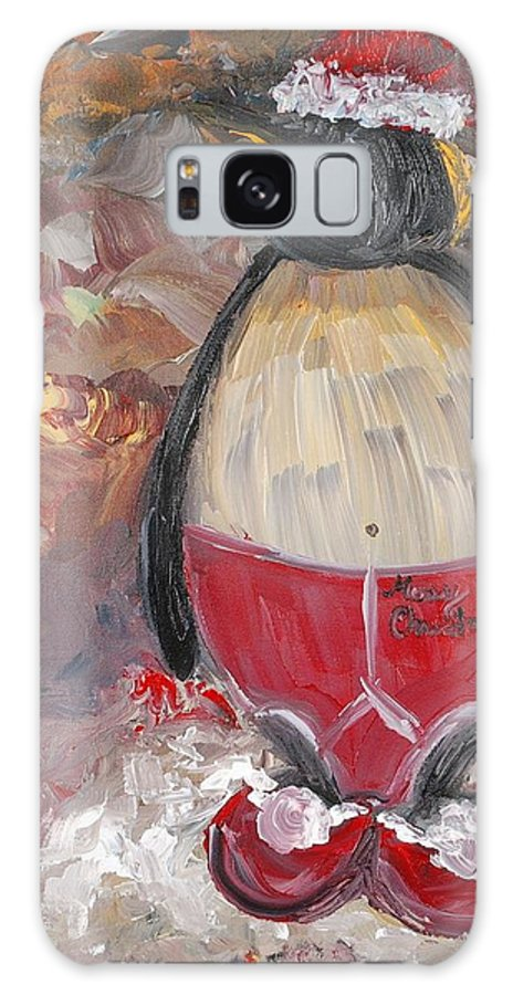 Penguin Galaxy S8 Case featuring the painting Christmas Penguin by Nadine Rippelmeyer