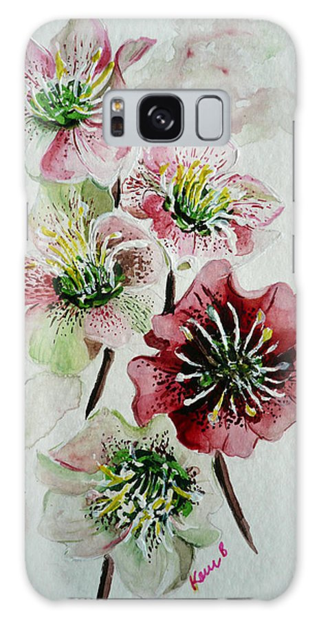 Floral Flower Pink Galaxy Case featuring the painting Christmas Rose by Karin Dawn Kelshall- Best