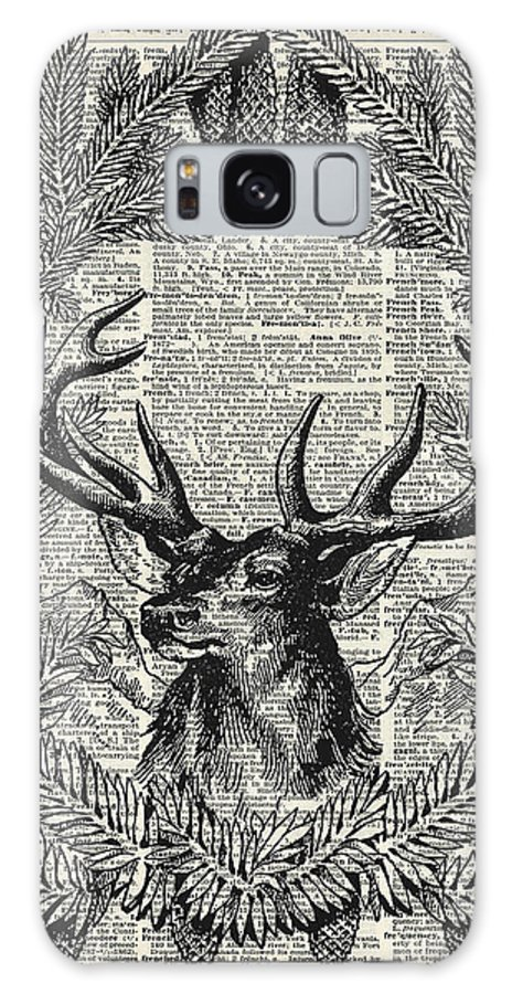 Christmas Stag Galaxy S8 Case featuring the drawing Christmas Stag by Anna W