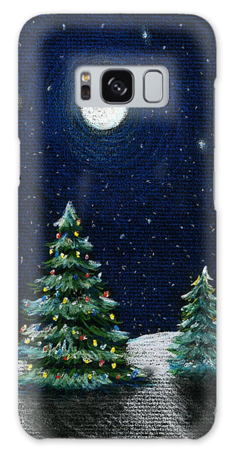 Christmas Trees Galaxy S8 Case featuring the drawing Christmas Trees In The Moonlight by Nancy Mueller