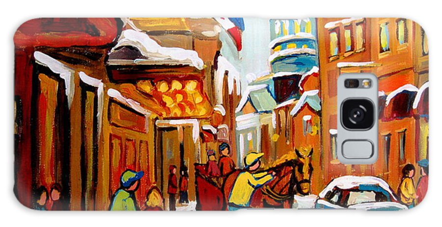 Church Steeet In Winter Galaxy S8 Case featuring the painting Church Street In Winter by Carole Spandau