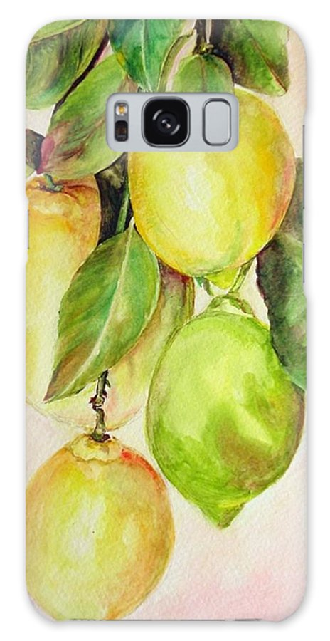 Still Life Galaxy S8 Case featuring the painting Citrons by Muriel Dolemieux