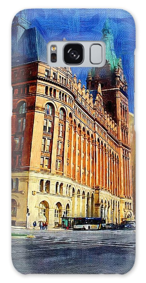 Architecture Galaxy S8 Case featuring the digital art City Hall And Lamp Post by Anita Burgermeister