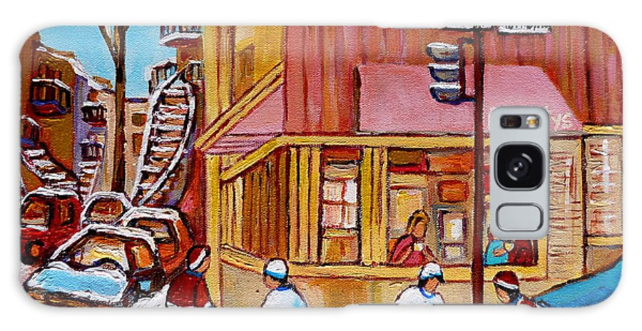 Montreal Galaxy S8 Case featuring the painting City Of Montreal St. Urbain And Mont Royal Beautys With Hockey by Carole Spandau