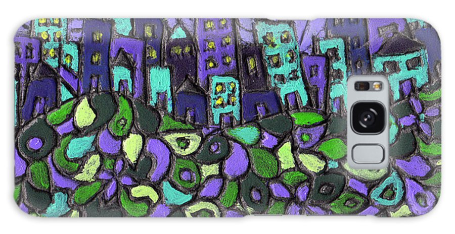 Purple Galaxy Case featuring the painting City Of Passion by Wayne Potrafka