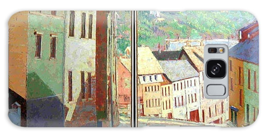 Buildings Galaxy S8 Case featuring the painting City Scape-dyptich by Walter Casaravilla