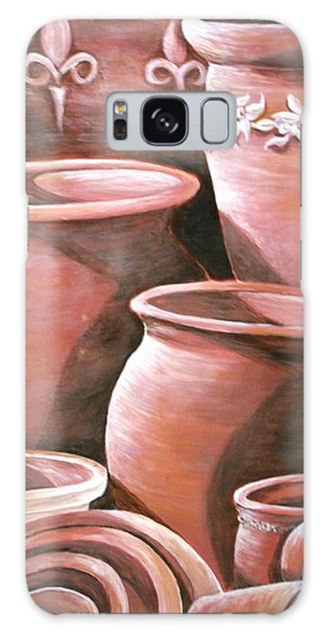 Clay Pots Galaxy S8 Case featuring the painting Clay Pots by Melissa Wiater Chaney