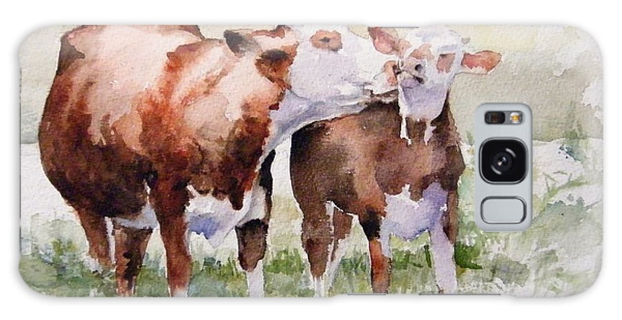Cows Galaxy Case featuring the painting Clean Behind The Ears by Debra Jones