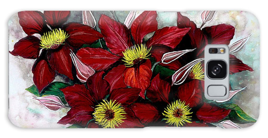 Flower Painting Floral Painting Red Painting Botanical Painting Clematis Painting Greeting Card Painting Flower Vine Painting Galaxy S8 Case featuring the painting Clematis Niobe by Karin Dawn Kelshall- Best