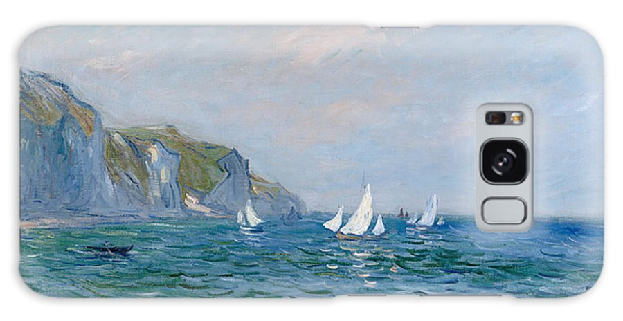 Cliffs And Sailboats At Pourville (oil On Canvas) Impressionism; Impressionist; Seascape; Sea; Ocean; Boat; Sailing; Sail; Yacht; Cliff; Monet Galaxy S8 Case featuring the painting Cliffs And Sailboats At Pourville by Claude Monet