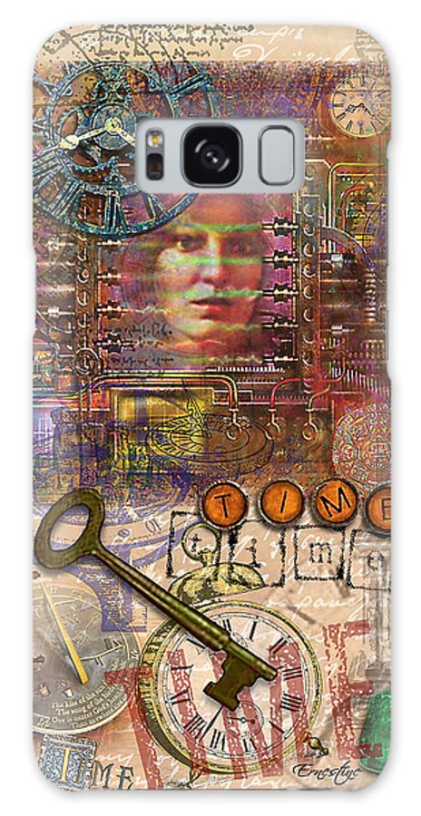 Collage Galaxy Case featuring the mixed media Clockworks by Ernestine Grindal