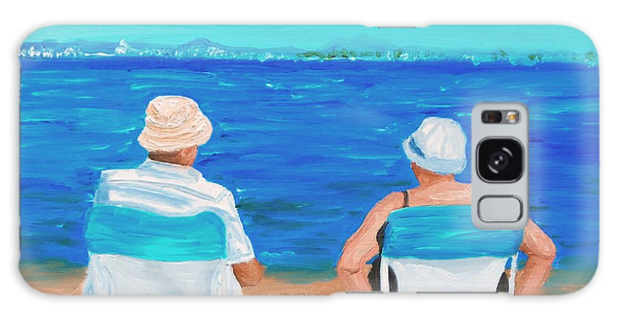 Beach Scene Galaxy Case featuring the painting Clyde And Elma At The Beach by Michael Lee