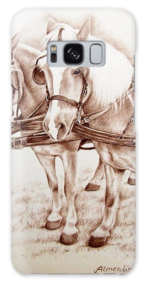 Horses Galaxy Case featuring the drawing Coach Horses by Nicole Zeug
