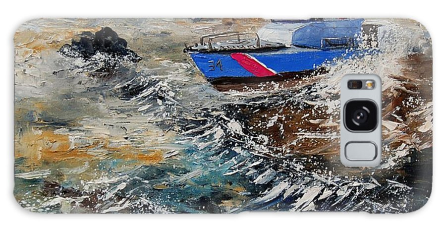 Sea Galaxy Case featuring the painting Coastguards by Pol Ledent