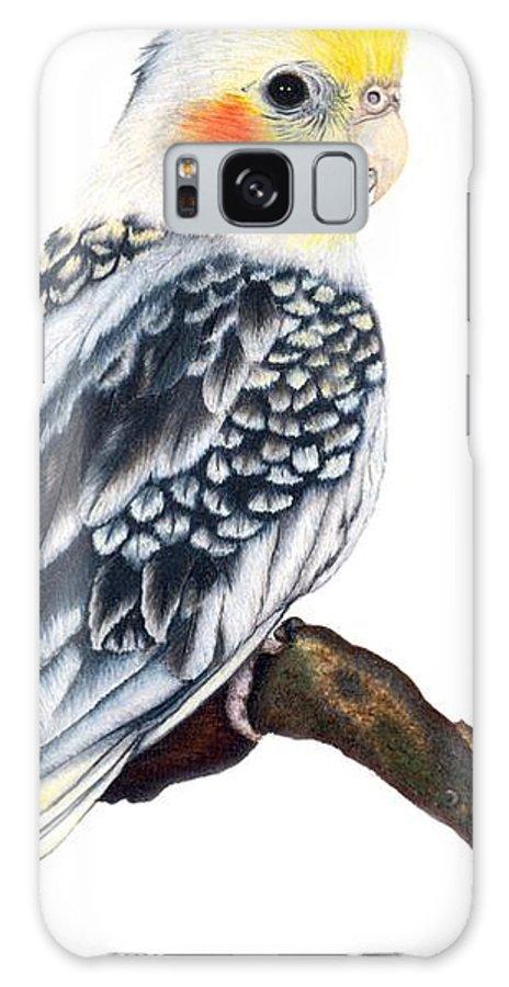 Cockatiel Galaxy S8 Case featuring the drawing Cockatiel 2 by Kristen Wesch