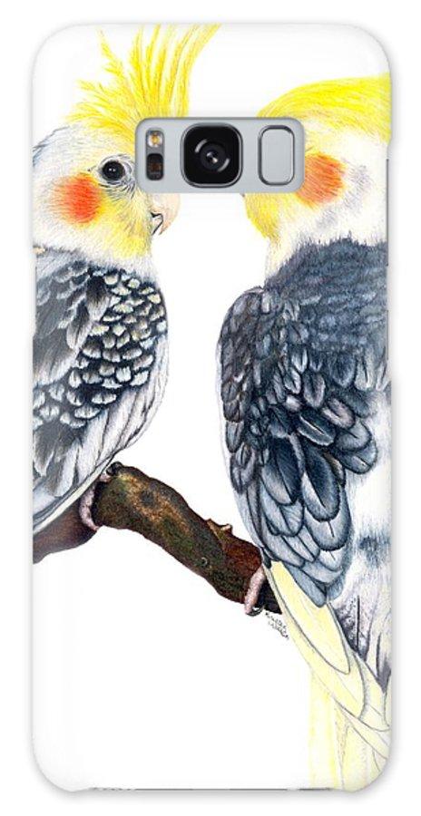 Cockatiel Galaxy S8 Case featuring the drawing Cockatiels by Kristen Wesch
