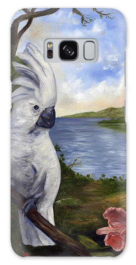 Landscape Galaxy S8 Case featuring the painting Cockatoo And Orchid by Anne Kushnick