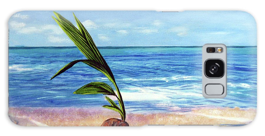 Ocean Galaxy Case featuring the painting Coconut on beach by Jose Manuel Abraham