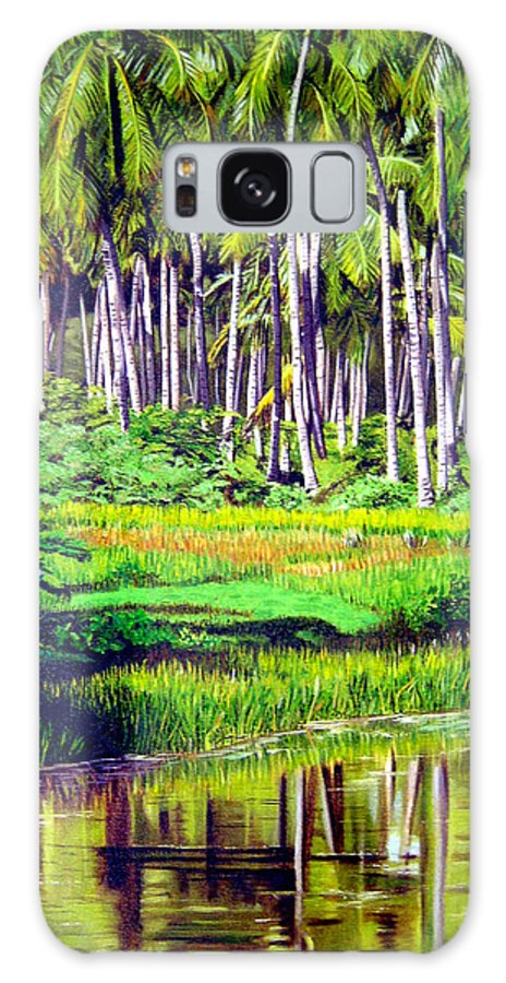 Coconuts Water River Green Art Tropical Galaxy Case featuring the painting Coconuts Trees by Jose Manuel Abraham