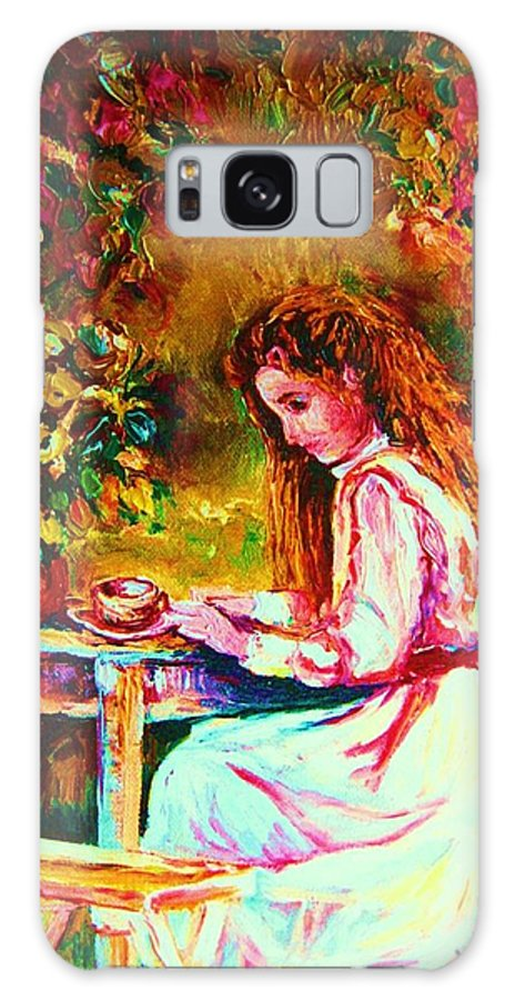 Impressionism Galaxy S8 Case featuring the painting Coffee In The Garden by Carole Spandau