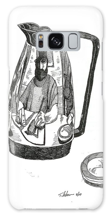 Pen And Ink Galaxy S8 Case featuring the drawing Coffee Pot by Tobey Anderson