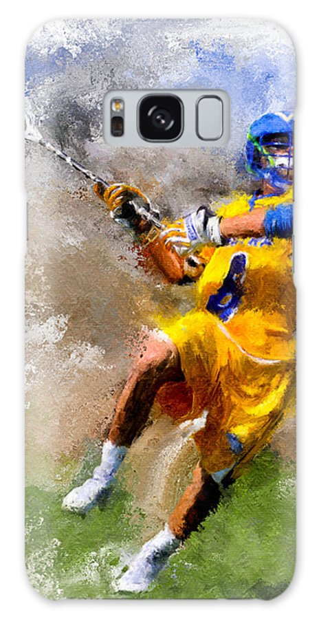 Lacrosse Galaxy S8 Case featuring the painting College Lacrosse Shot by Scott Melby