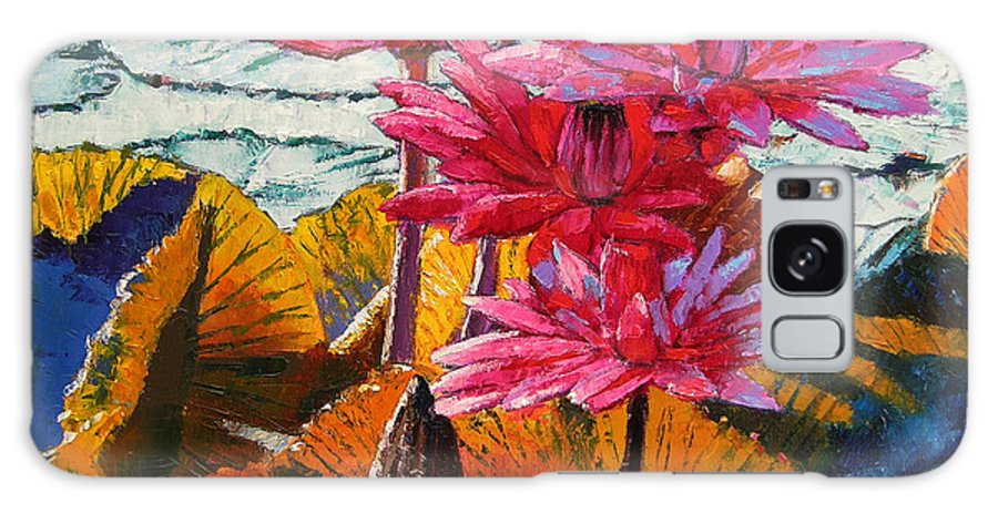 Water Lilies Galaxy Case featuring the painting Color Texture And Light by John Lautermilch