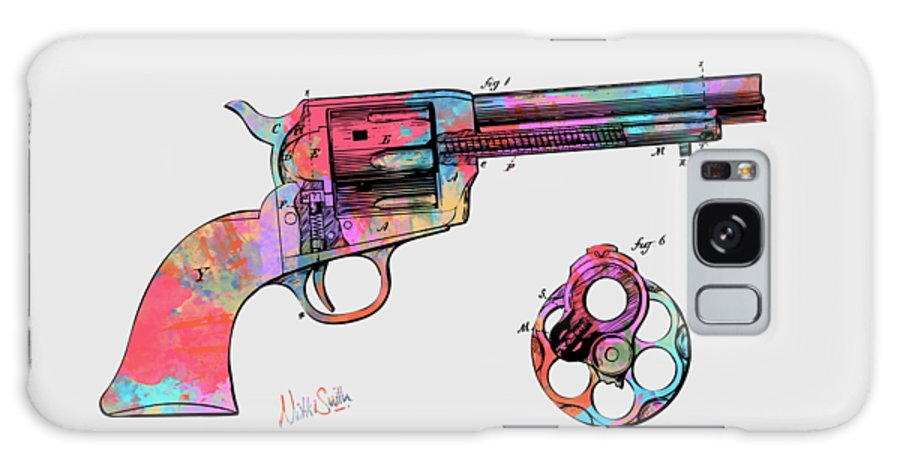 Colt Galaxy Case featuring the digital art Colorful 1875 Colt Peacemaker Revolver Patent Minimal by Nikki Marie Smith