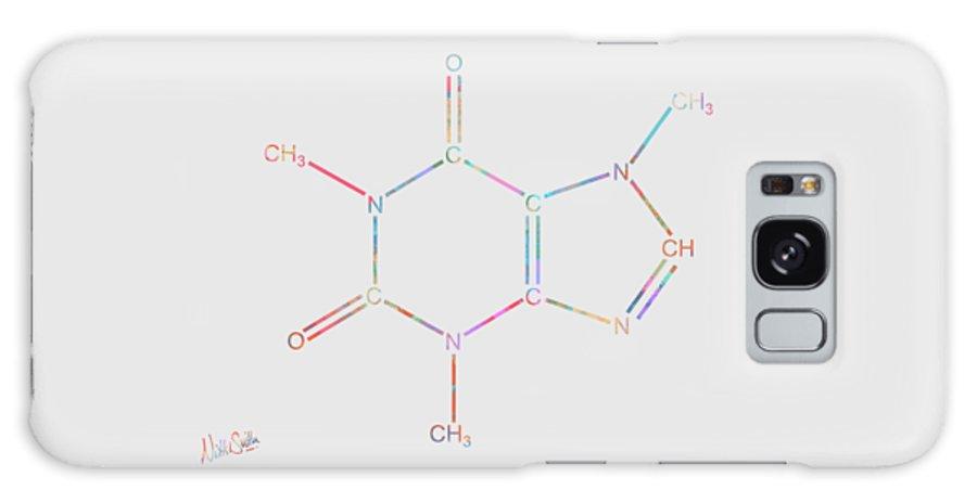 Caffeine Galaxy Case featuring the digital art Colorful Caffeine Molecular Structure by Nikki Marie Smith