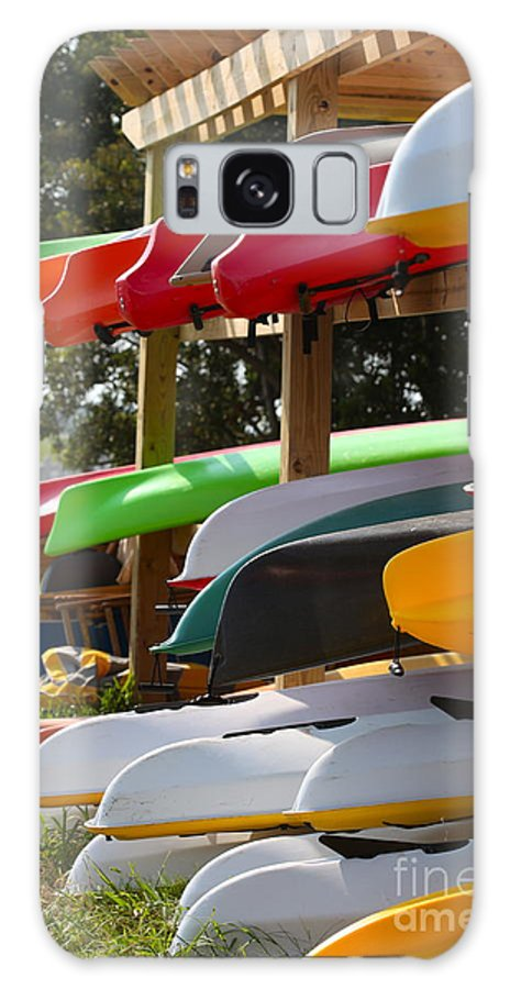 Canoes Galaxy S8 Case featuring the photograph Colorful Canoes by Nadine Rippelmeyer