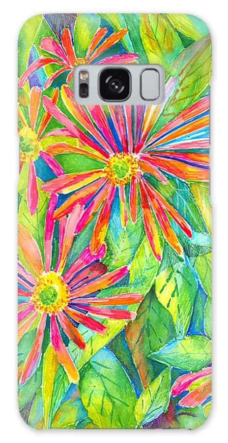 Daisy Galaxy Case featuring the painting Colorful Daisies by Arline Wagner