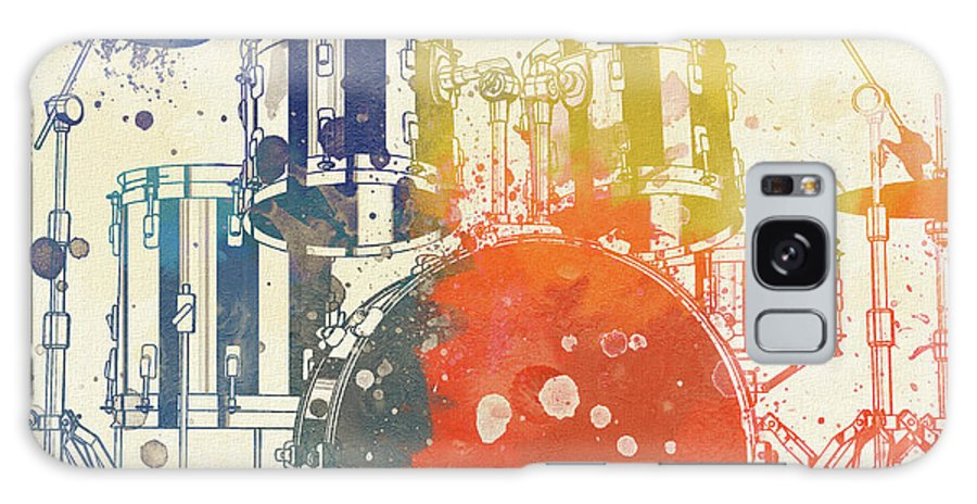 Colorful Drum Set Galaxy Case featuring the painting Colorful Drum Set by Dan Sproul