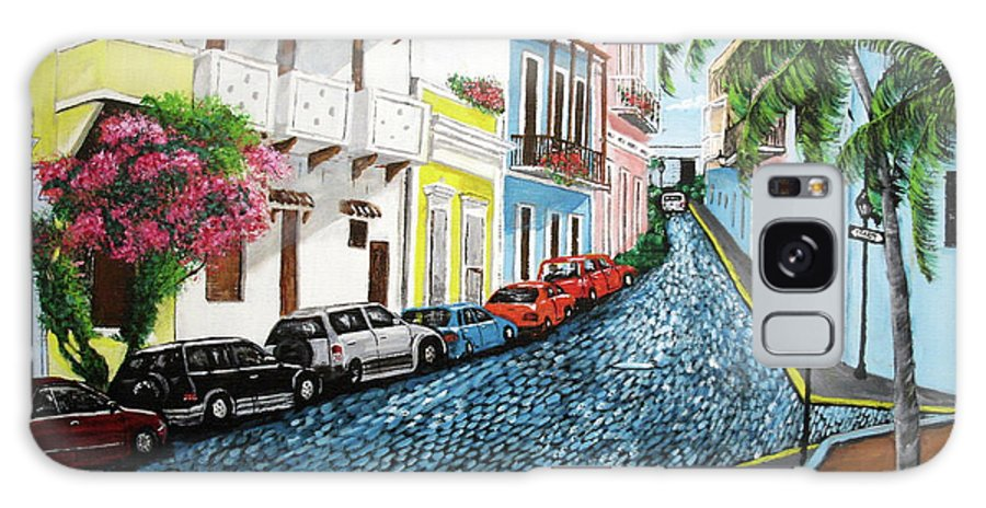 Old San Juan Galaxy Case featuring the painting Colorful Old San Juan by Luis F Rodriguez