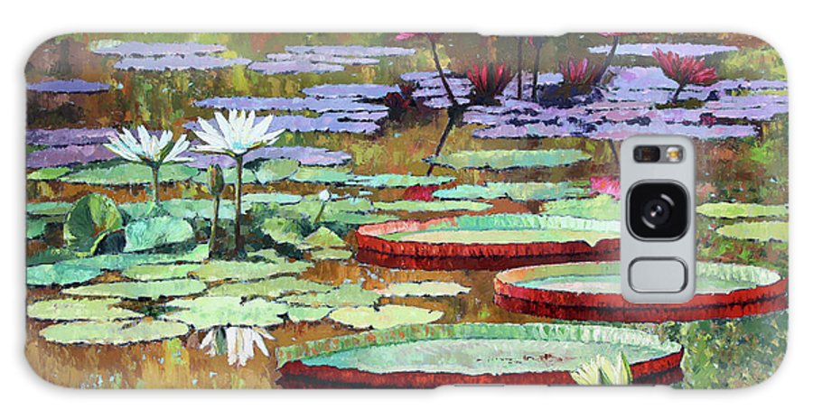Garden Pond Galaxy Case featuring the painting Colors on the Lily Pond by John Lautermilch