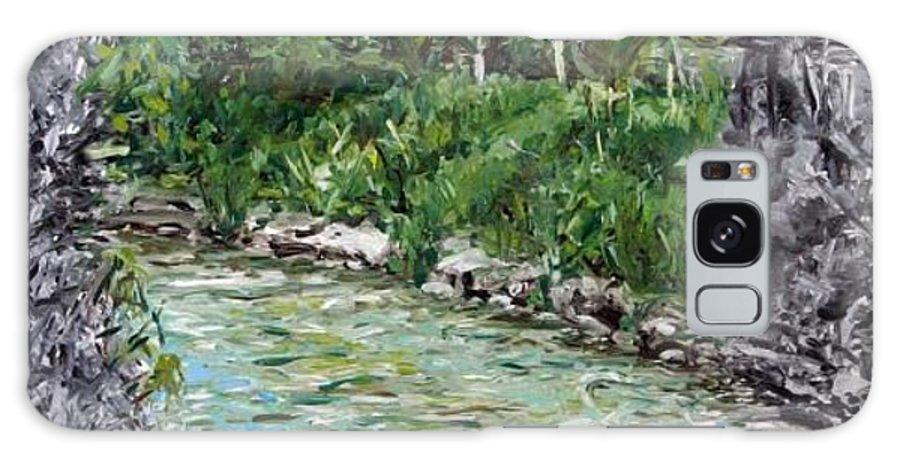 Landscape Galaxy S8 Case featuring the painting Colors River by Pablo de Choros
