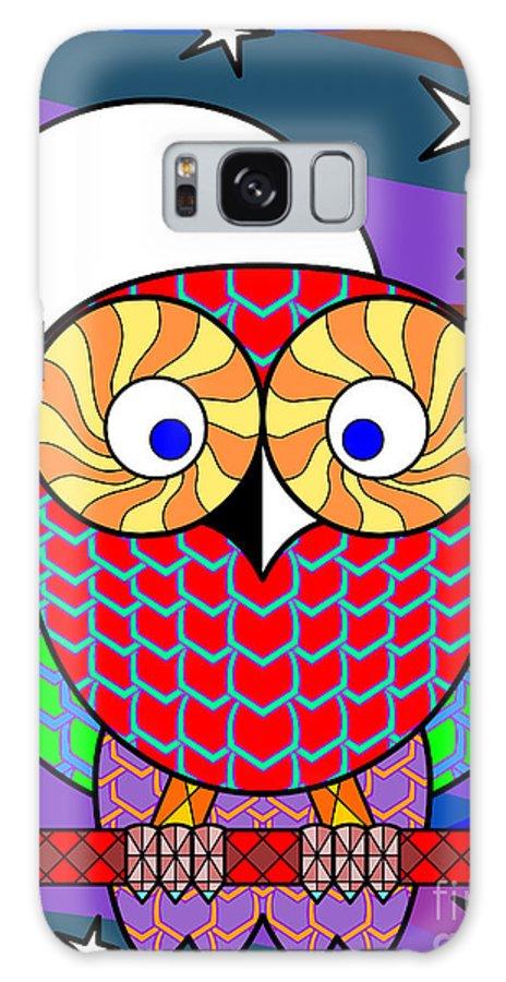 Owl Galaxy S8 Case featuring the digital art Colourful Owl by Santi Goma Rodriguez